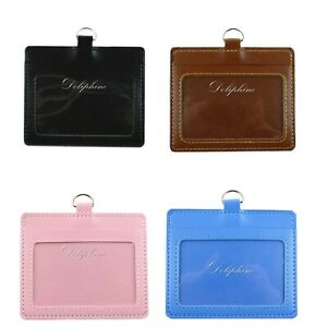 "Leather Horizontal ID badge holder with Window and Card Slot size 4.5"" X 3"""