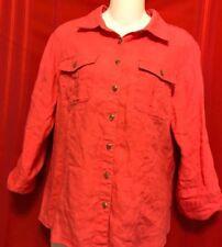david n top Orange Size L Linen Collar Button Front 2 Placket Button Pockets