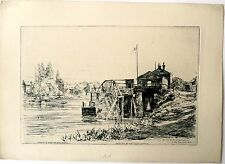 Gravure de Evershed, Les bords du Thames, Angleterre
