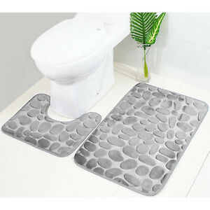 Pebbles Bath Mat Pedestal Mat Memory Foam Set Non Slip Soft Toilet Bathroom Rugs