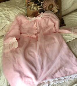 Fab~* Vintage Ladies Brushed Nylon Nighty Nightie Sleepwear Pink UNUSED