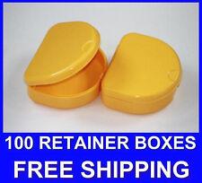 100 Yellow Denture Retainer Box Orthodontic Dental Case Mouth Ortho Brace Teeth