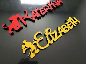DISNEY STYLE WOODEN  NAME PLAQUE WITH CHARACTERS /NAME PLAQUES/SIGN/ PAINTED