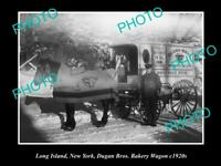 OLD POSTCARD SIZE PHOTO OF LONG ISLAND NEW YORK DUGANS BAKERY CART c1920