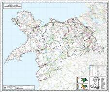 NORTH WALES MAP -  COUNTY WALL MAP OF NORTH WALES LAMINATED EDITION. 1:150,000