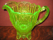 yellow Vaseline Glass water serving Pitcher dahlia Pattern uranium dugan flower