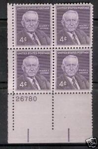 Scotts #1170  4c SENATOR WALTER GEORGE Plate Block, MNH