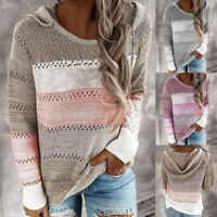 Womens Hooded Knit Sweater Long Sleeve Striped Pullover Sweatshirt Tops Blouse