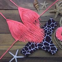 Damen Bikini Set Push-Up Quaste Bandage Bademode Badeanzug Badebekleidung Strand