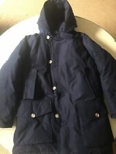 Vintage Woolrich Mens Sz Medium Blue ZipperButton Down Parka Hooded Jacket