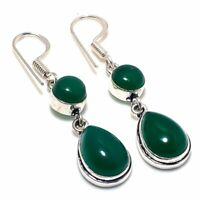 "Green Onyx Gemstone Handmade Ethnic Style Jewelry Earring 1.97"" VJ-9083"