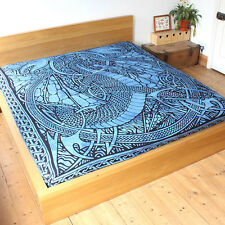 Blue Celtic Fire Dragon throw Fair Trade Double Bed spread cover hanging drape