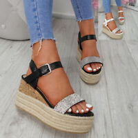 WOMENS LADIES ANKLE STRAP DIAMANTE STUDS WEDGE ESPADRILLE SANDALS SHOES SIZE