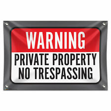 "Warning Private Property No Trespassing 33"" x 22"" Mini Vinyl Banner Wall Sign"