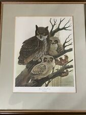 "John A Ruthven (b1924) ""Great Horned Owls"" Limited Edition Print 507/1500-Signed"