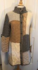 Womens SUNDANCE Long Cardigan Sweater Coat Patchwork Lambswool Medium