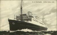 Steamship SS George Washington Used Traighli Ireland Cancel Postcard 1936