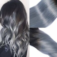 2 Toned Colour 1B Grey Dip Dye Clip in Remy Human Hair Extensions Silver ombre