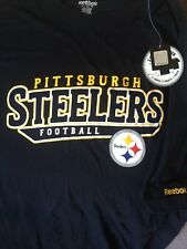 REEBOK PITTSBURGH STEELERS SHORT SLEEVE BLACK T-SHIRT SIZE LARGE BRAND NEW
