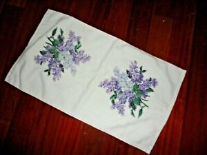 VINTAGE CANNON COMMON LILACS PURPLE GREEEN FLORAL (1) HAND TOWEL 16 X 28