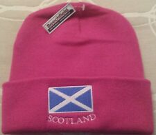 SCOTTISH SCOTS SCOTLAND SALTIRE FOLD UP BEANIE HAT IN FUSCHIA