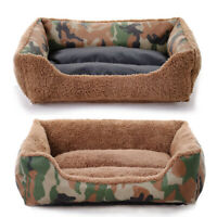 Pet Dog Cat Bed Puppy Cushion Washable Camouflage Mat Kennel Warm Soft House Bed