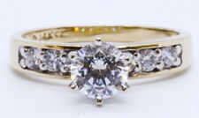 14K Solid Yellow Gold Round Cubic Zirconia CZ Engagement Ring w/ Accent Size 6.5