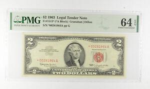 1963 $2 FR1513* (*A Block) Red Seal Graded PMG - 64 EPQ Legal Tender *794