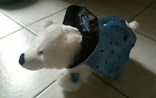 Peluche petit ours Thierry mugler  blanc avec cape  bleu