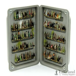 EVA Foam Fly Box + Assorted Gold Head Nymph Trout Fishing Flies 8 10 12 14 16 18