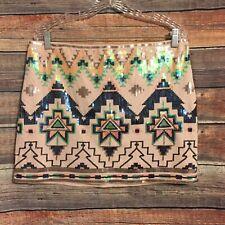 Express Large Aztec Sequin Multi Color Mini Skirt