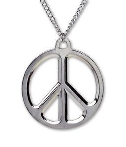Large Peace Sign Polished Silver Finish Pewter Pendant Necklace NK-447