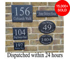 Rustic Slate House Gate Sign Plaque Door Number Personalised Name Plate oval/rec