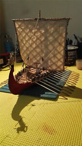 "Drakkar Dragon Viking Sailboat 1/50 17.3"" Unassembled Wooden Model Boat Ship Kit"