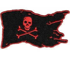 "(G26) Red PIRATE FLAG SKULL and CROSSBONES 3.5"" x 2.25"" iron on patch (5570)"