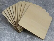 20 x Wooden Square Coaster Shapes, Large Plain Wood Squares 10cm 100mm by