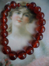 ANTIQUE VINTAGE CHERRY RED BAKELITE BEADS NECKLACE ART DECO STYLE BARREL CLASP