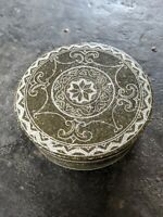 "Vintage Signed Stone Hand Carved Round Box Jewelry Trinket Vanity 5.5"" Brazil"