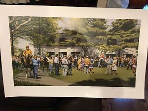 """Horse Racing Print """"Keenland Paddock"""" by Artist Roy Miller signed # 23/500"""