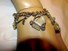 VTG  ANTIQUE LINK Gold Plate HEAVY CHUNKY CHARM BRACELET 8 CHARMS Music AB Sets