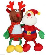 2x TOYS Hug Tugz Santa & Reindeer Plush Christmas Dog Toy Bright Xmas puppy gift