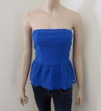NWT Abercrombie Womens Size Small Strapless Eyelet Top Shirt Royal Blue