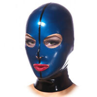 Mask 100% Latex Rubber Gummi Navy Blue Hood Headgear Cosplay maske Size S-XXL