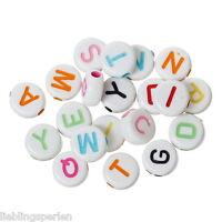 Großverkauf Mix Buchstaben Flachrund Acryl Perlen Beads Scheiben Weiß 7x7mm L/P
