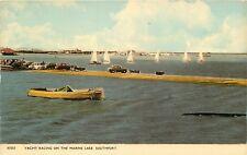 s10363 Yacht racing on marine lake, Southport, Lancashire, England postcard