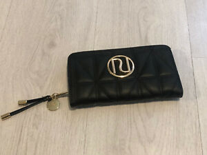 River Island Black Quilted Faux Leather Large Logo Purse