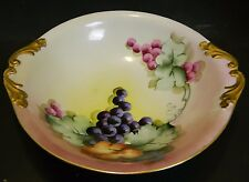 "Antique Artist Signed Hand Painted PL Limoges Handled Fruit Bowl 2"" x 10"" Good"