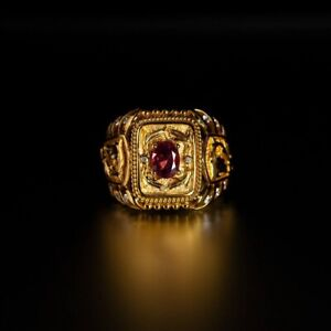 Extremely Rare Natural Unheated Ruby Diamond 18k Gold Mens Ring