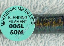 Kreinik Blending Filament 005L Blinding Black Metallic Thread 50M Cross Stitch