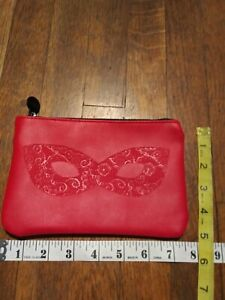 Ipsy Glam Bag  Red w/ Embossed Masquerade Mask Design Oct 2018 empty